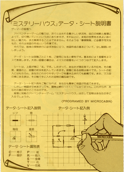 Mystery House II (Micro Cabin)(1985)MapGuide.png